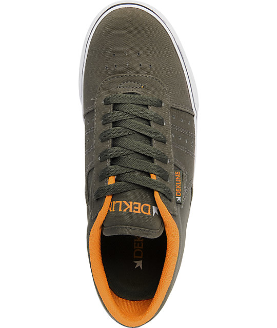 Dekline Archer Army & Orange Canvas Shoes