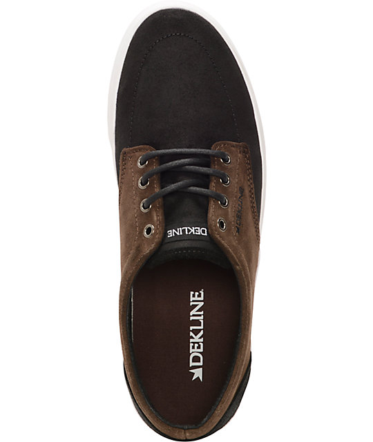 Dekline Mason Black & Brown Oiled Suede Skate Shoes
