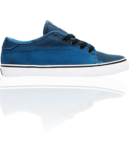Dekline Santa Fe Black & Blue Bleach Canvas Skate Shoes