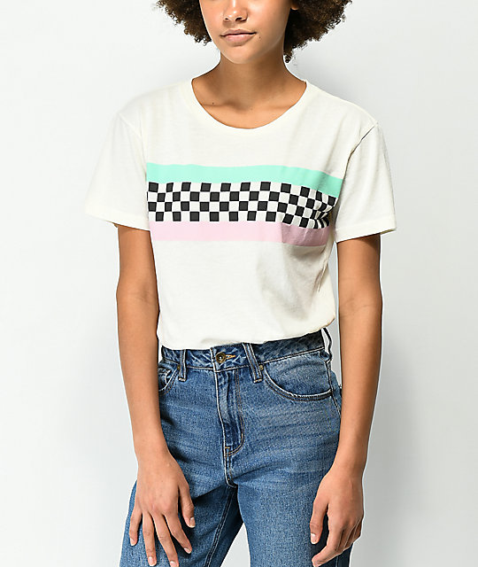 Desert Dreamer Checker Block Off camiseta blanca