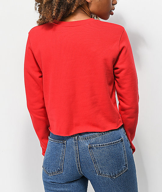 Desert Dreamer Double Rose Red Crop Sweater
