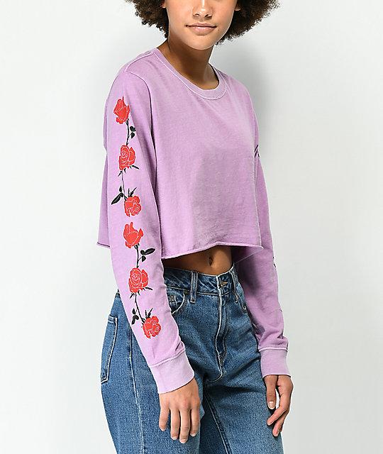 4fcc7a9a360e Desert Dreamer Roses Lavender Long Sleeve Crop T-Shirt   Zumiez