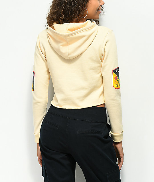 Desert Dreamer Too Early Sand Cropped Hoodie