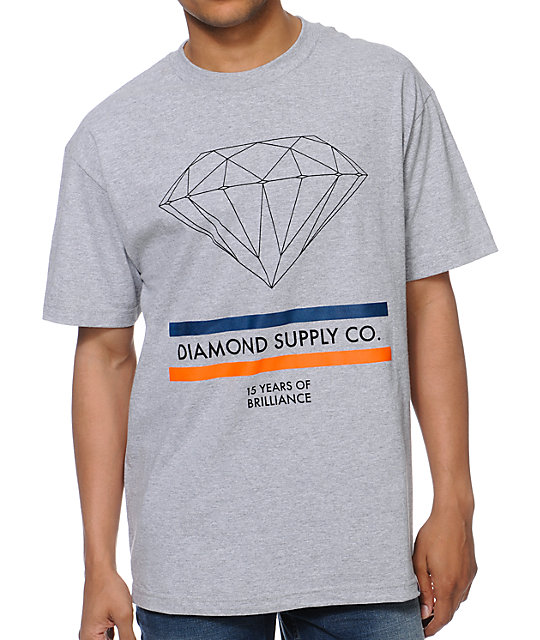Diamond Supply Co 15 Years Brilliance Heather Grey T-Shirt