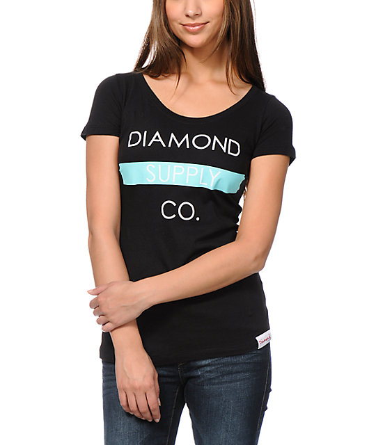 Diamond Supply Co Bar Logo Black Scoop Neck T-Shirt