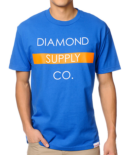 Diamond Supply Co Bar Logo Royal & Orange T-Shirt