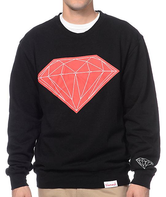 6ed3f271a Diamond Supply Co Big Brilliant Black & Red Crew Neck Sweatshirt | Zumiez