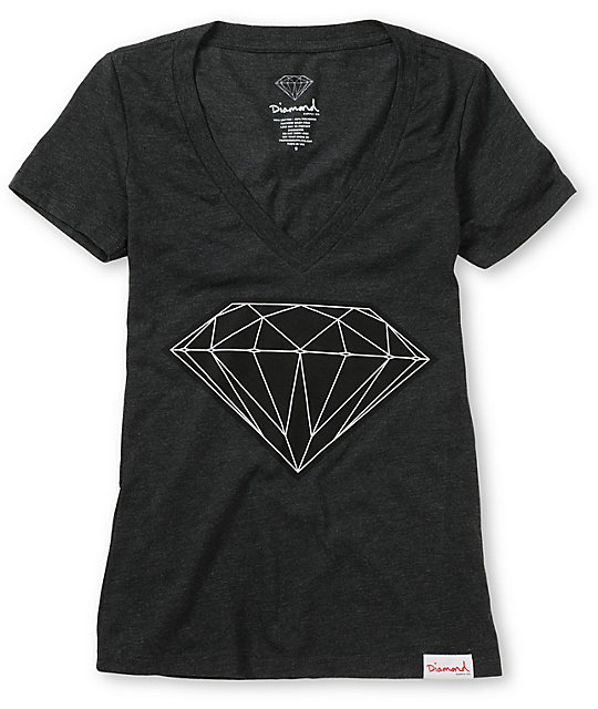 Diamond Supply Co Big Brilliant Charcoal V-Neck T-Shirt