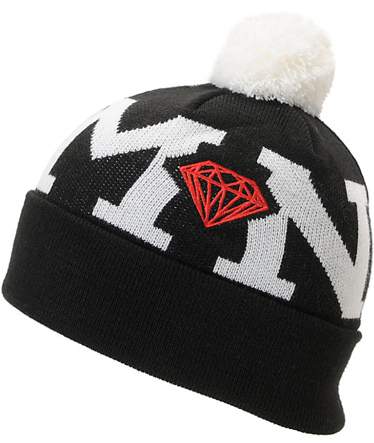 Diamond Supply Co Black Snow Pom Beanie