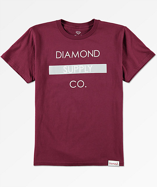 Diamond Supply Co Boys Bar Logo Burgundy T-Shirt