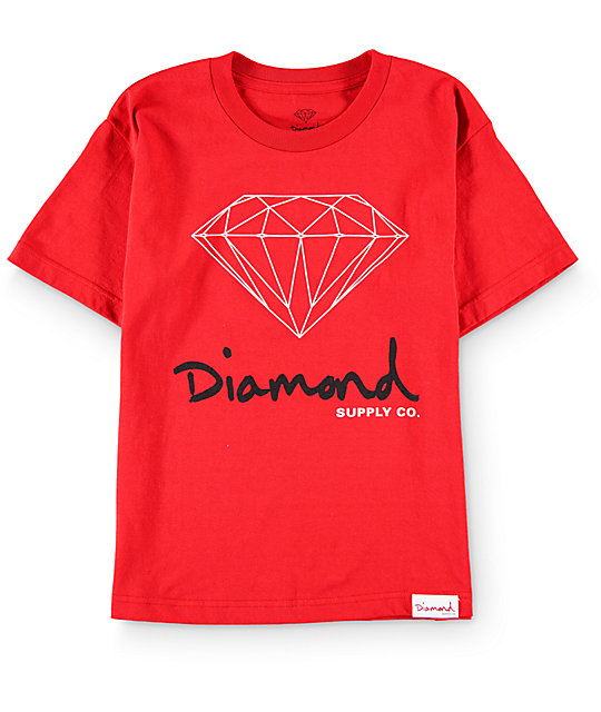 Diamond supply co boys og sign red t shirt zumiez for The red t shirt company