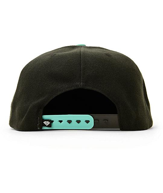 a121032ae55 ... Diamond Supply Co Brilliant Black   Blue Snapback Hat ...