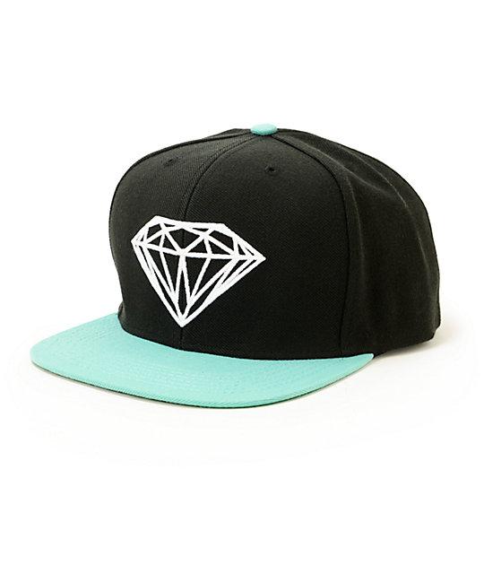 Diamond Supply Co Brilliant Black   Blue Snapback Hat  f9d87dc7636