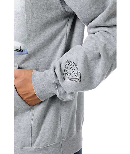 Diamond Supply Co Brilliant Glass Heather Grey Pullover Hoodie