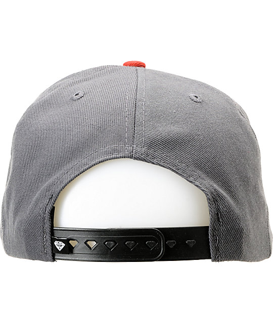 Diamond Supply Co Brilliant Grey & Red Snapback Hat