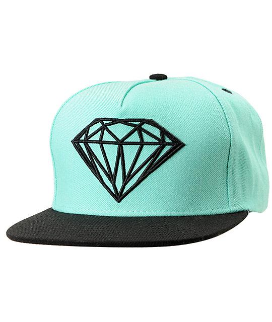 Diamond Supply Co Brilliant Mint   Black Snapback Hat  3323aca3edf