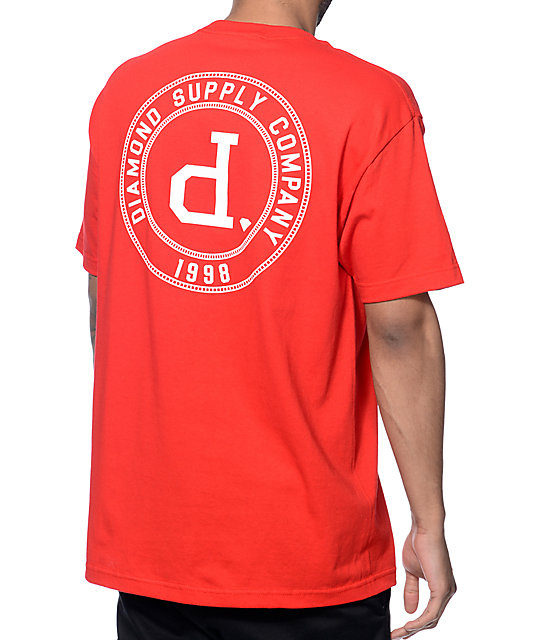 Diamond supply co college seal red t shirt zumiez for The red t shirt company
