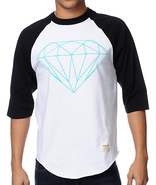 Diamond Supply Co Diamond Lifer Black & White Baseball T-Shirt