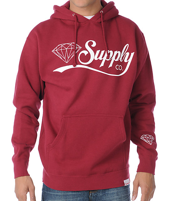 Diamond Supply Co Diamondaire Maroon Pullover Hoodie