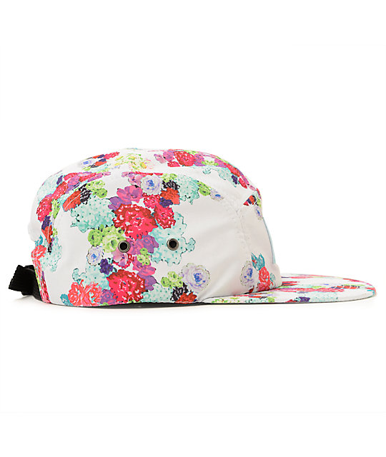 Diamond Supply Co Floral White 5 Panel Hat