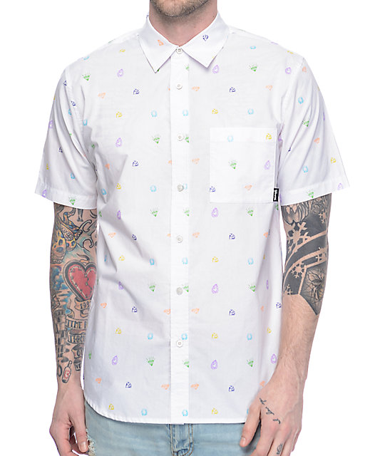 Diamond Supply Co Gems White Short Sleeve Button Up Shirt