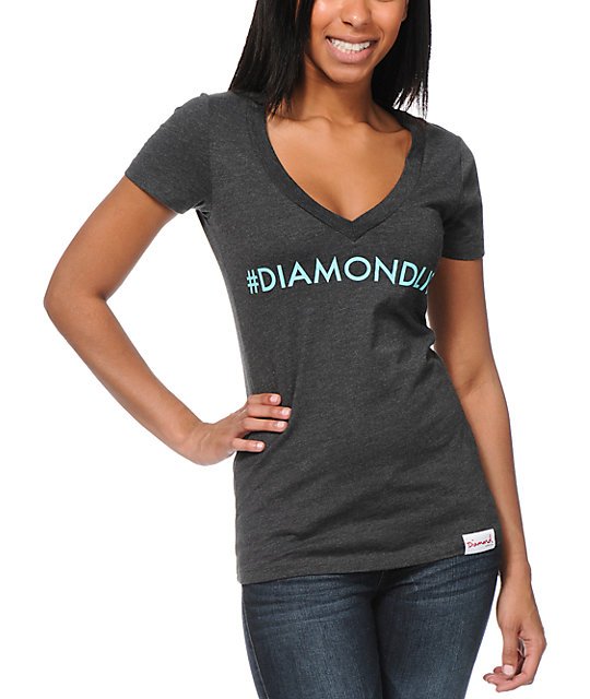 Diamond Supply Co Hashtag Charcoal V-Neck T-Shirt