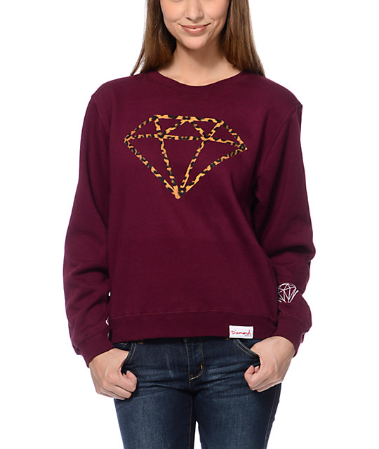 Diamond Supply Co Leopard Rock Maroon Crew Neck Sweatshirt