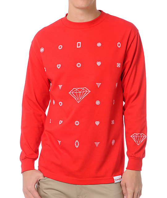 Diamond Supply Co Many Diamonds Red Long Sleeve T-Shirt