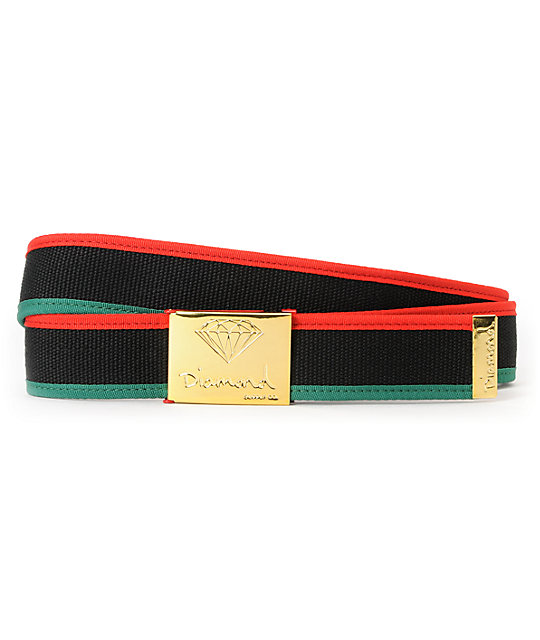 Diamond Supply Co OG 3-tone Black, Red & Green Web Belt