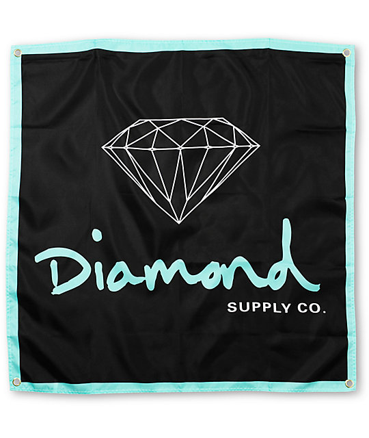 Diamond Supply Co OG Logo Black & Mint Banner