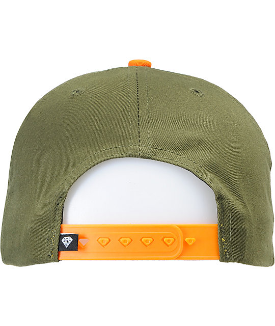 Diamond Supply Co OG Logo Forest & Orange Snapback Hat