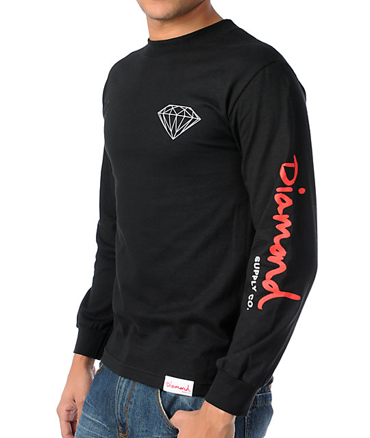 Diamond Supply Co OG Long Sleeve Black & Red T-Shirt