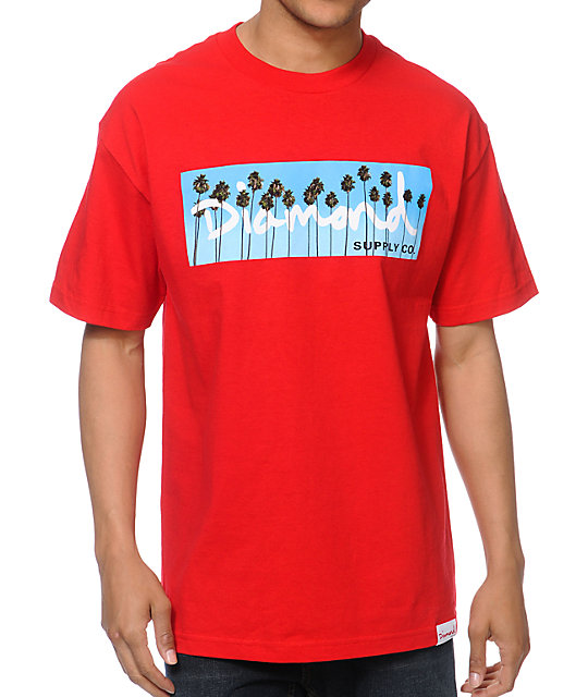 Diamond Supply Co OG Palms Red T-Shirt