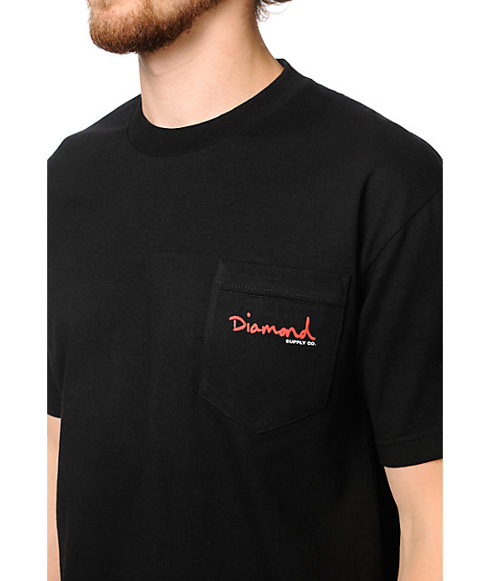 Diamond Supply Co OG Script Black Pocket T-Shirt