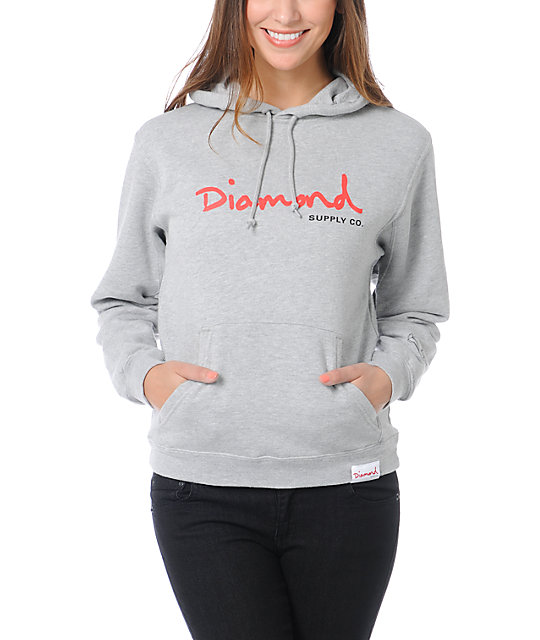 Diamond Supply Co OG Script Heather Grey Pullover Hoodie