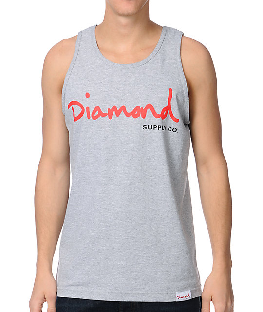 Diamond Supply Co OG Script Heather Grey Tank Top