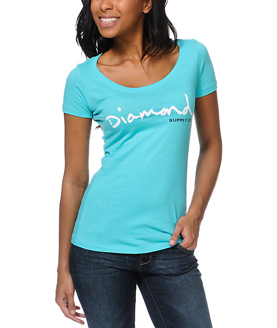 Diamond Supply Co OG Script Turquoise T-Shirt