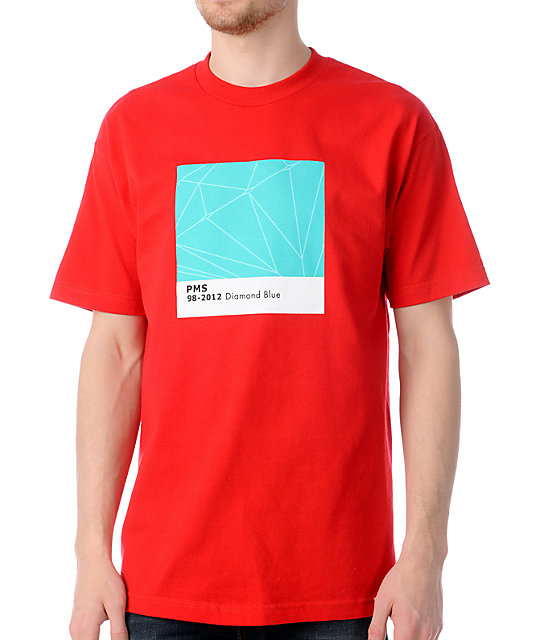 Diamond Supply Co Pantone Diamond Blue Red T-Shirt