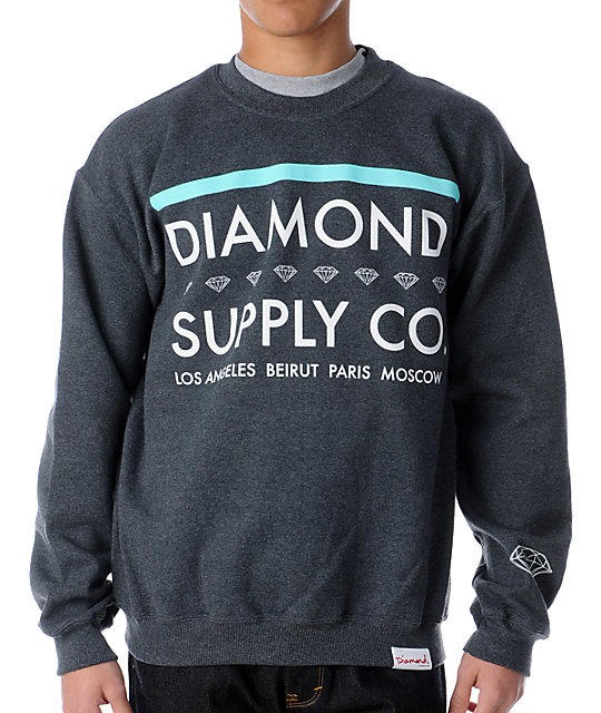 Diamond Supply Co Roots Charcoal Crew Neck Sweatshirt