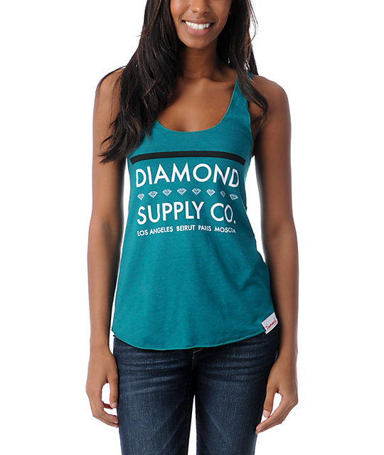Diamond Supply Co Roots Teal Tank Top