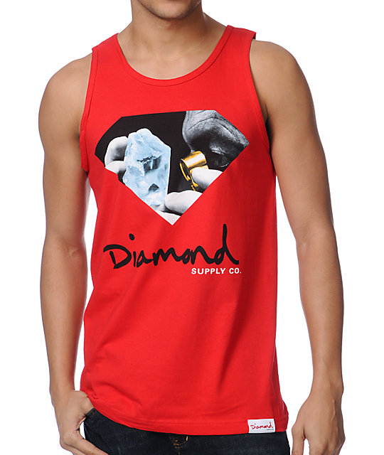 Diamond Supply Co Scope Red Tank Top