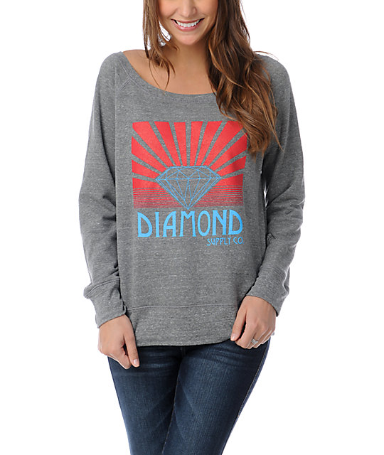 Diamond Supply Co Shining Heather Grey Crew Neck Sweatshirt