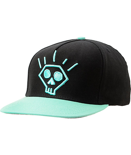 Diamond Supply Co Skull Black & Diamond Blue Snapback Hat