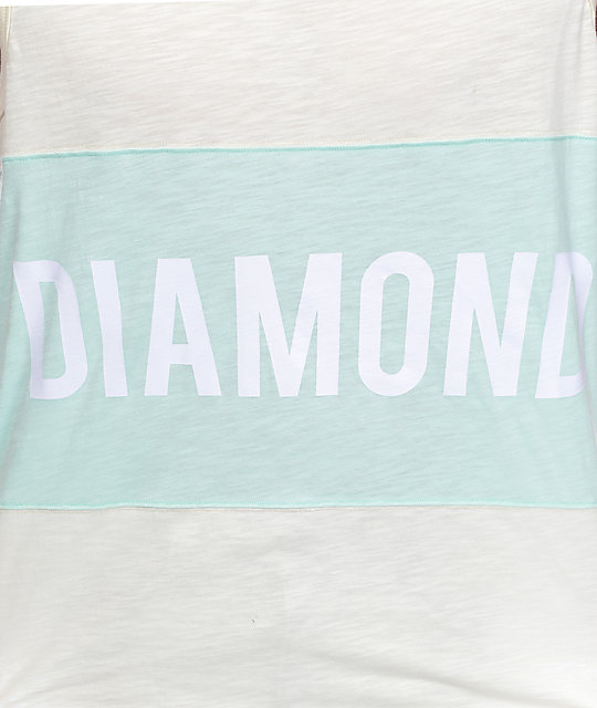 Diamond Supply Co Speedway Cream & Mint Tank Top