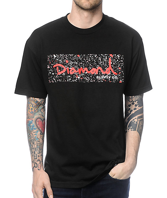 Diamond Supply Co Splatter Box Logo camiseta en rojo y negro