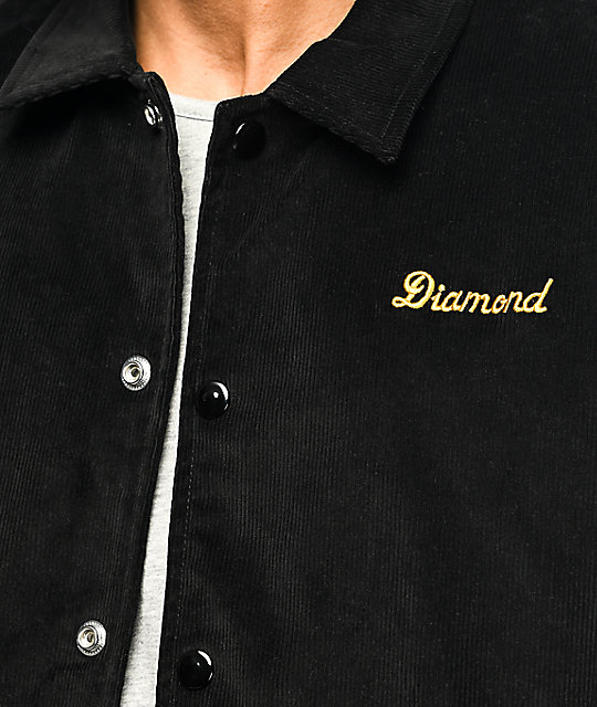 Diamond Supply Co Stadium chaqueta de pana negra