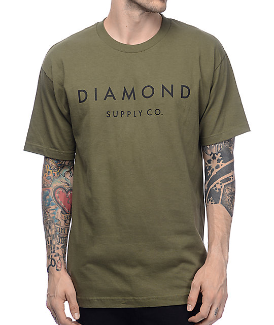 763d8b9c64 Diamond Supply Co Stone Cut Military Green T-Shirt
