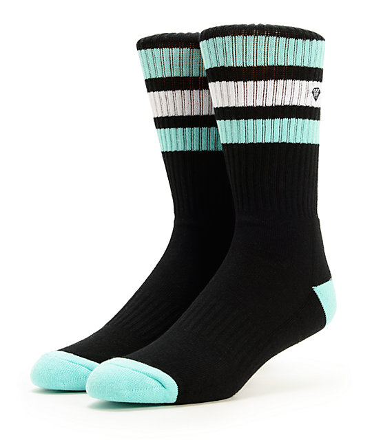 Diamond Supply Co Three Stripe Black & Mint Crew Socks