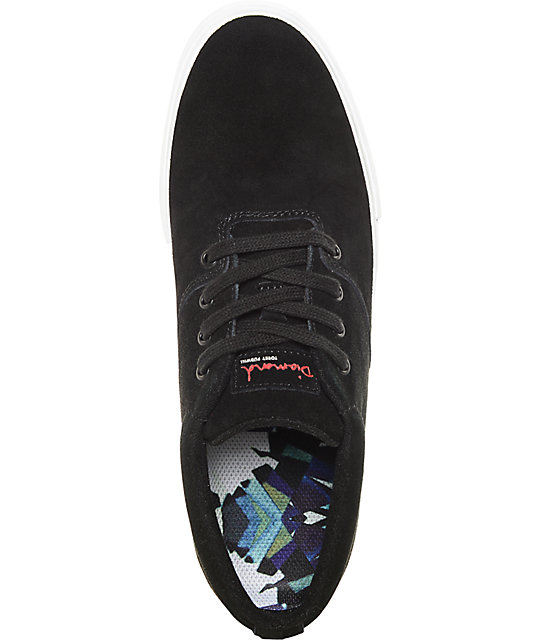 Diamond Supply Co Torey Black & White Suede Skate Shoes