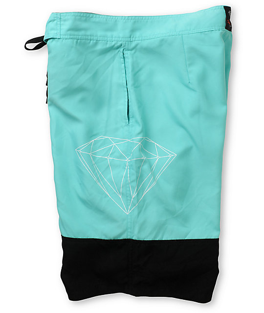 Diamond Supply Co Two Tone Mint & Black 21 Board Shorts